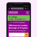 A preview of the new Croydon website design on a mobile phone